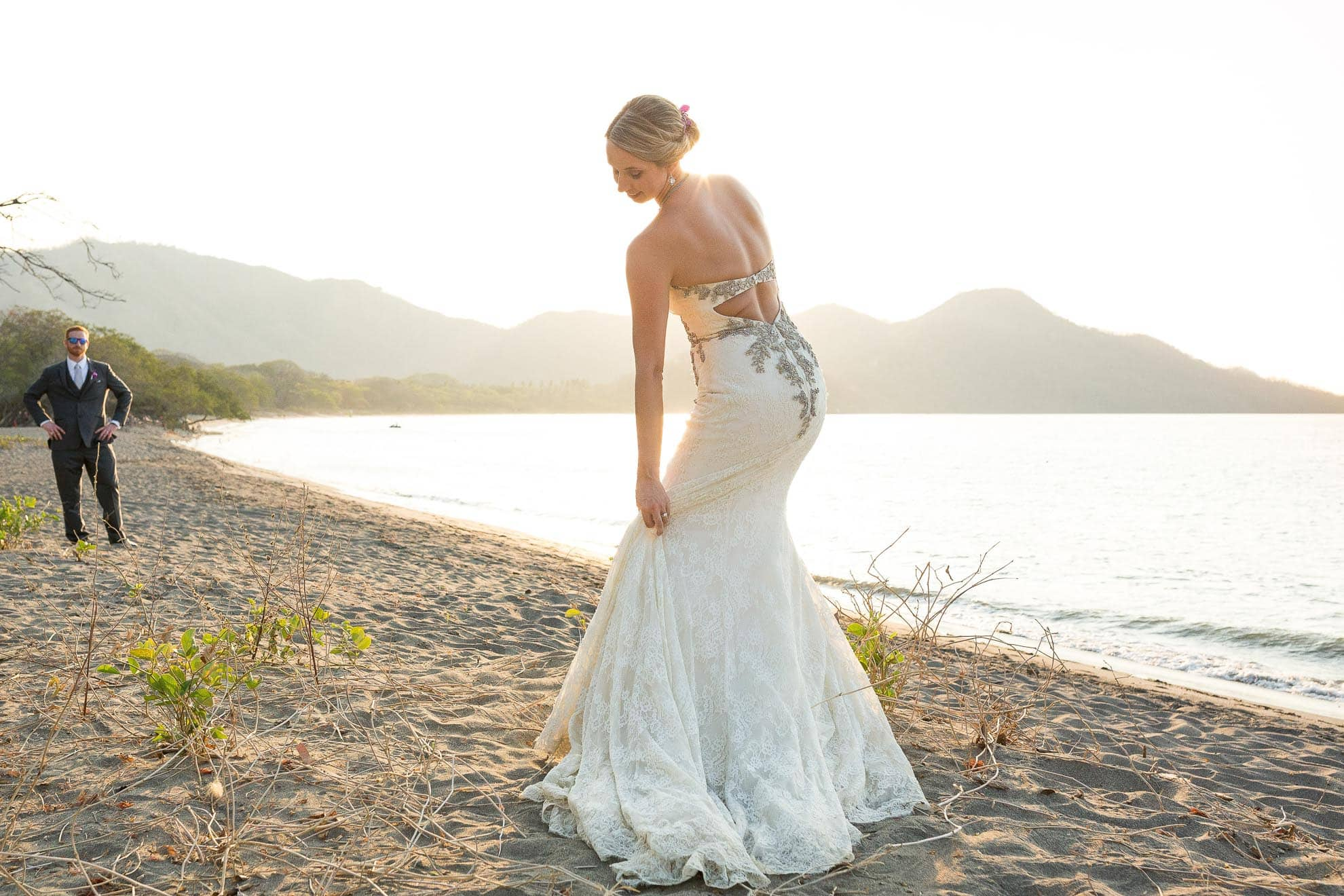 bride on costa rica beach