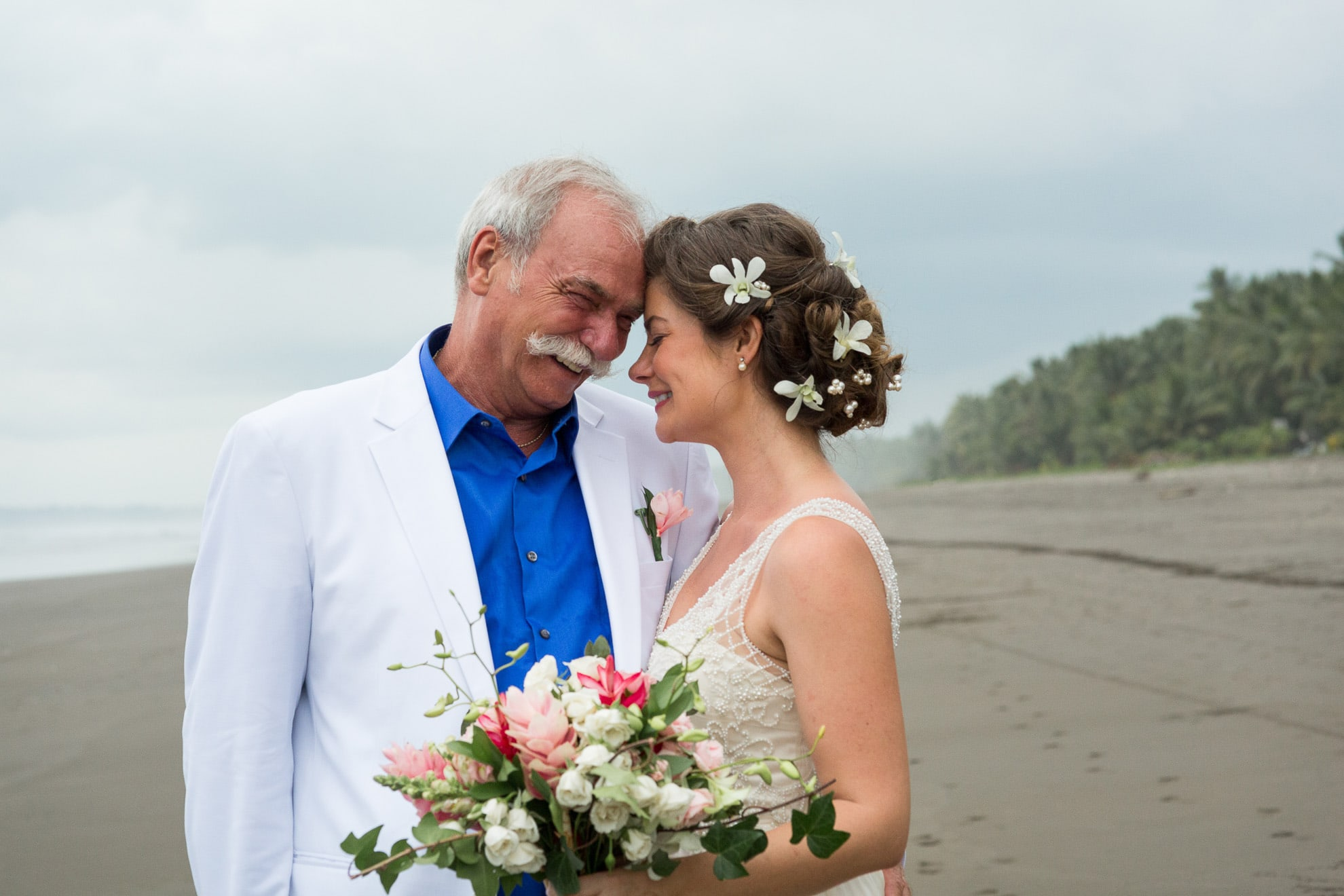 bride with father destination wedding bejuco costa rica