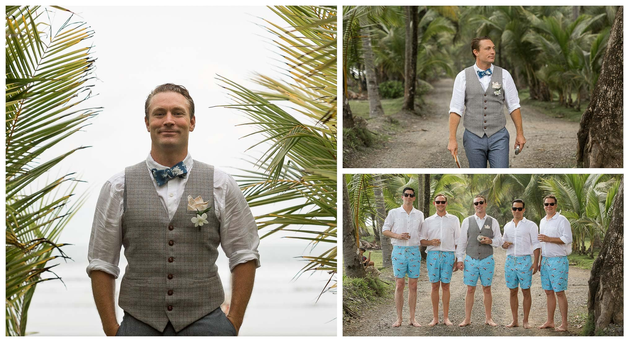 portraits of groom and groomsmen