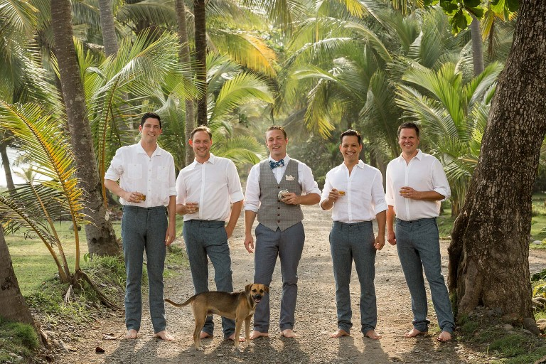 groom with groomsmen and dog on bejuco beach