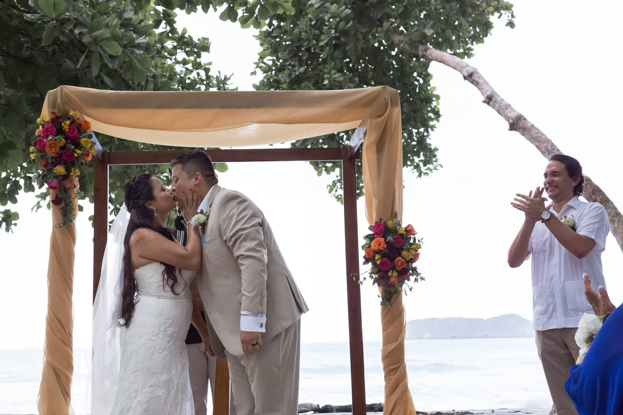 first kiss beach wedding costa verde
