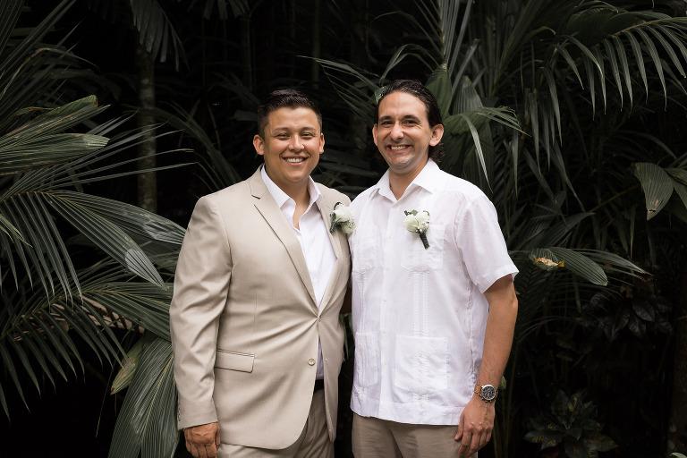 groom and best man Costa Rica Destination Wedding at Costa Verde