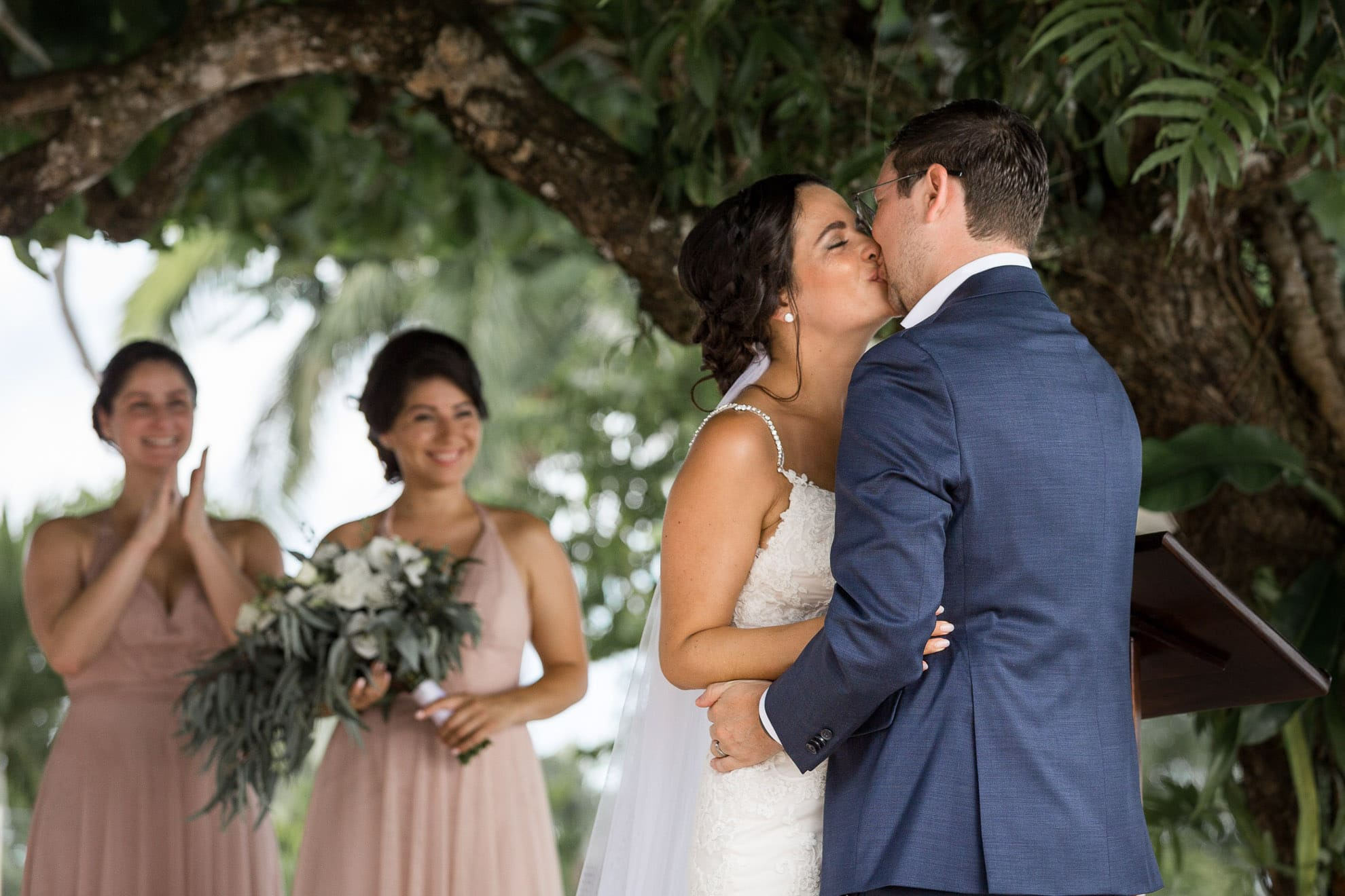 first kiss La Mariposa Destination Wedding