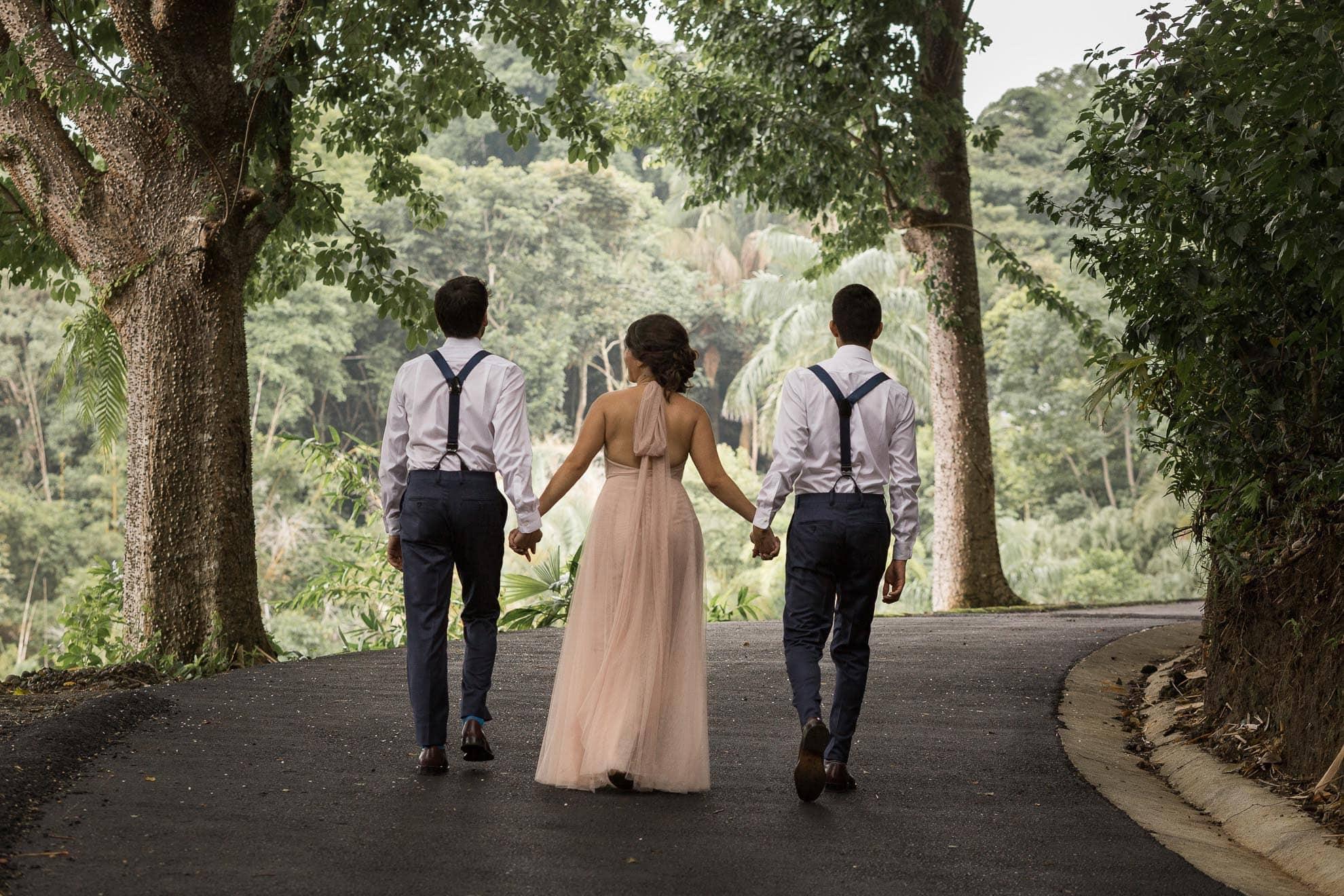 sibling stroll La Mariposa Destination Wedding