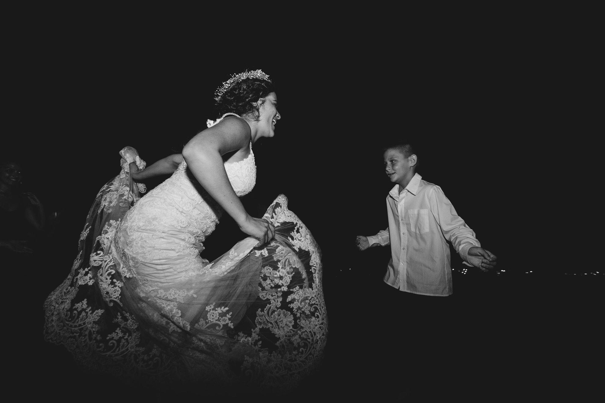 bride and young guest dance La Mariposa Destination Wedding