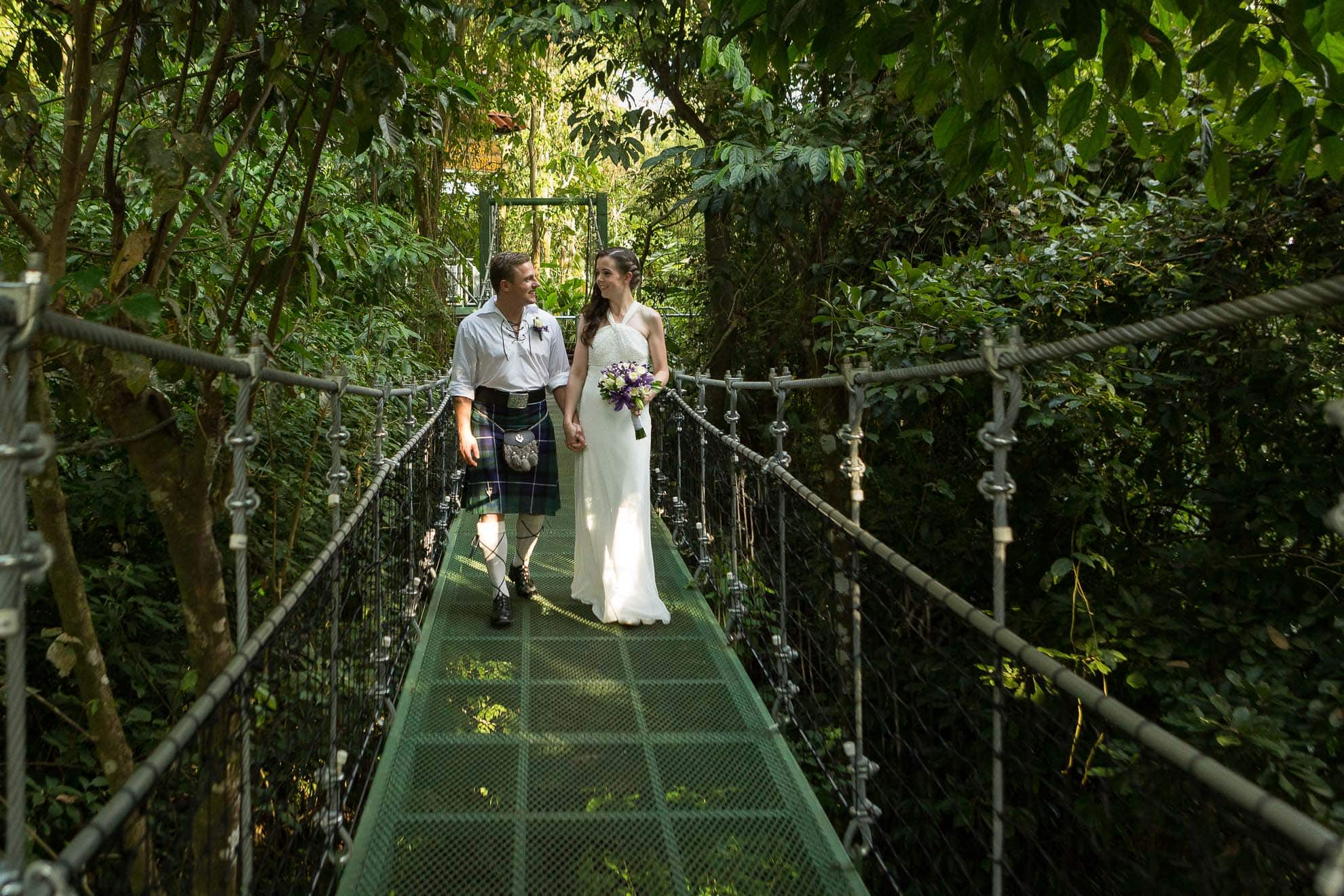 hanging suspension bridge costa verde