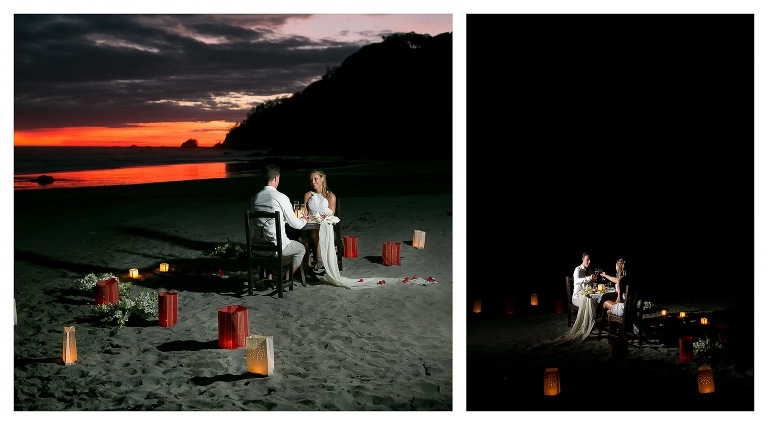 Intimate wedding dinner on the beach.