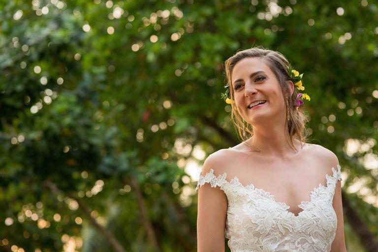 golden light portrait of the bride