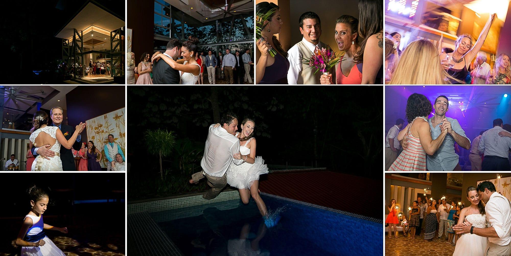 wedding couple jump in pool