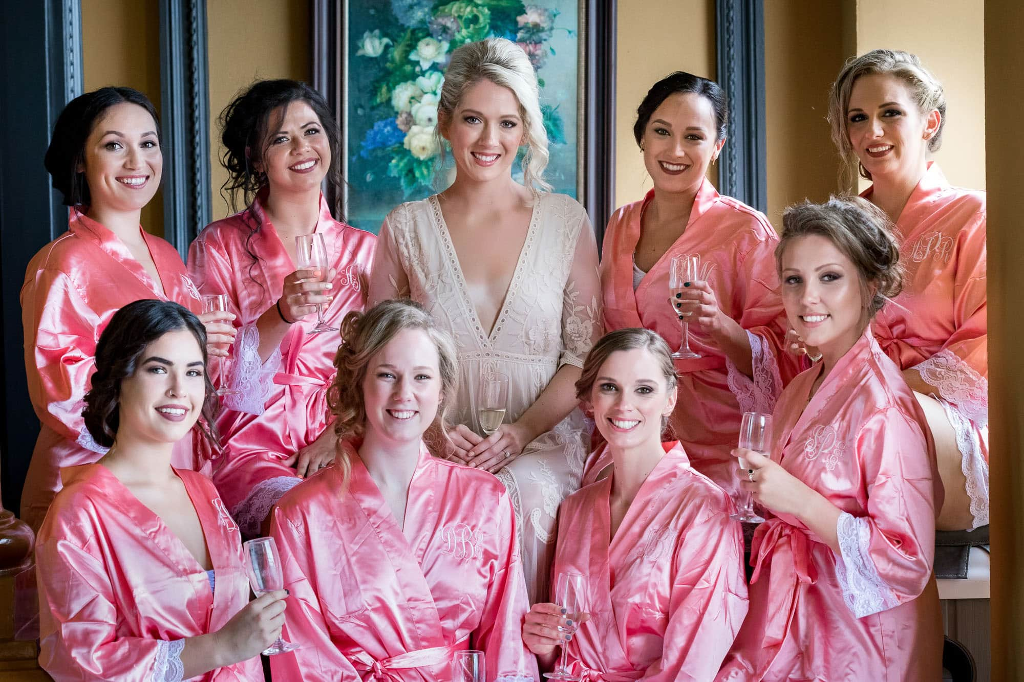 bride with bridesmaids at zephyr palace