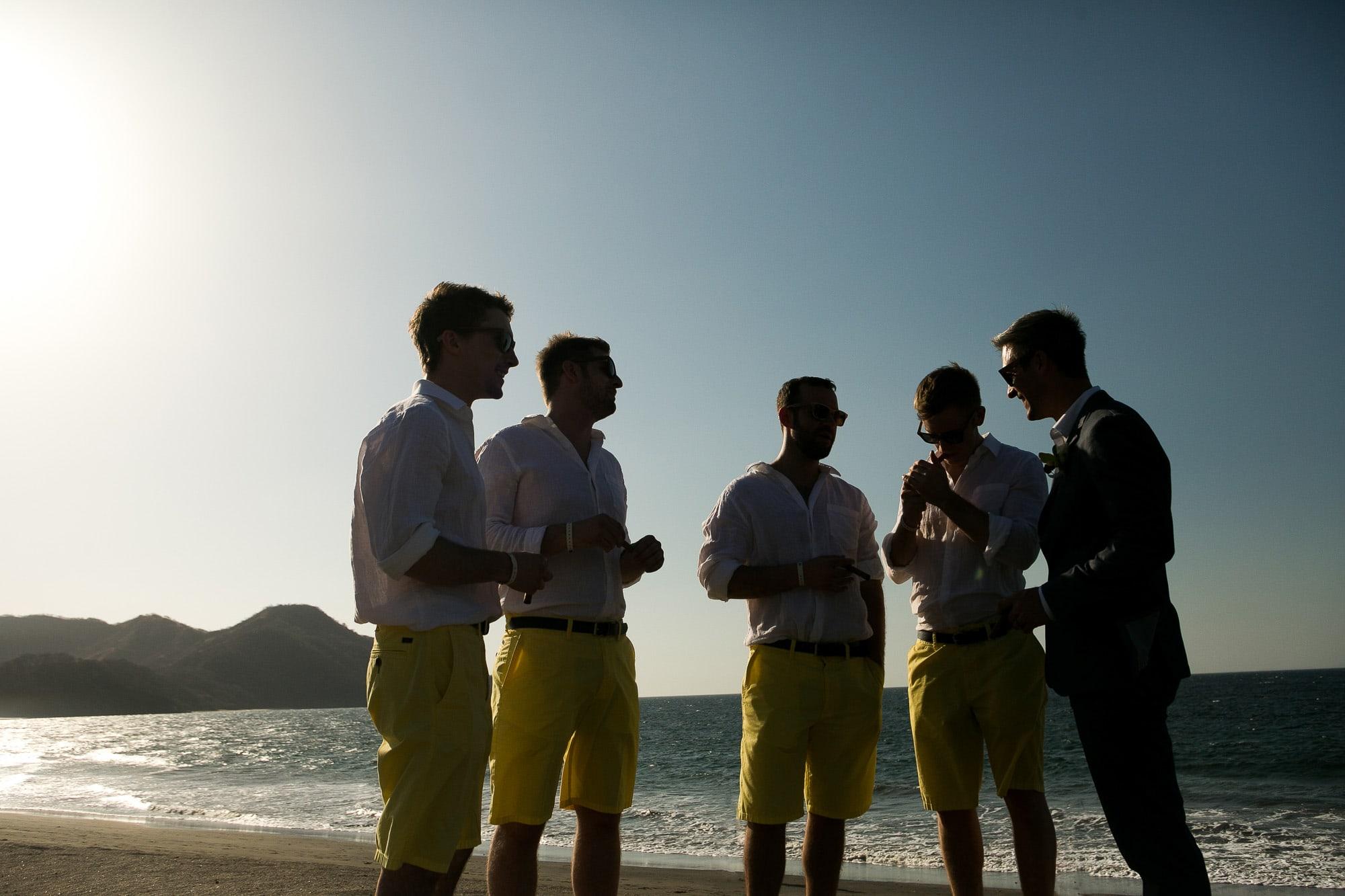 groomsman on beach in costa rica