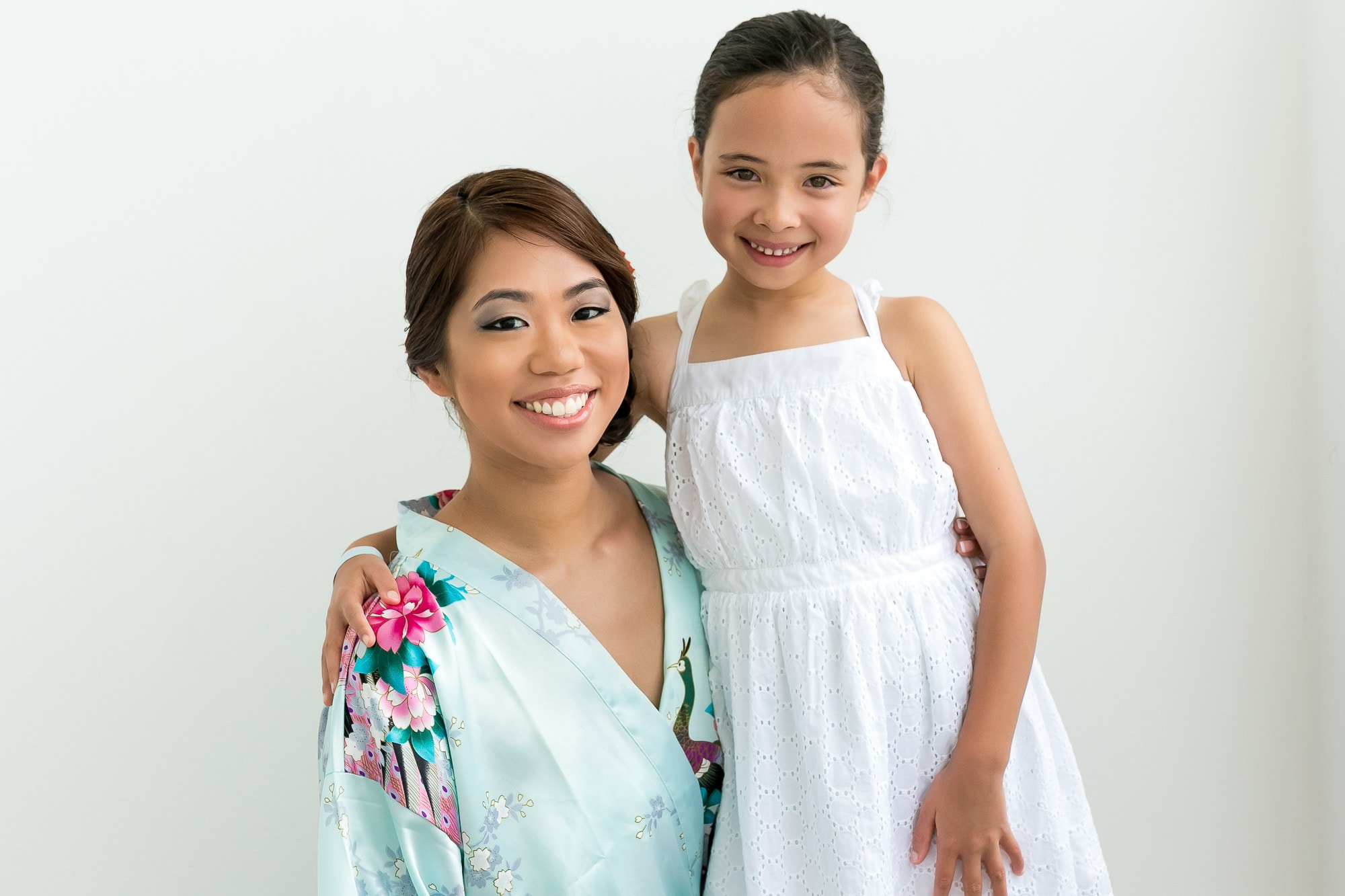 bride with niece before wedding