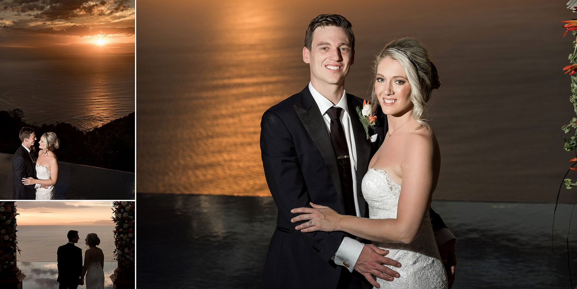 Portraits of the bride and groom with the spectacular sunset!