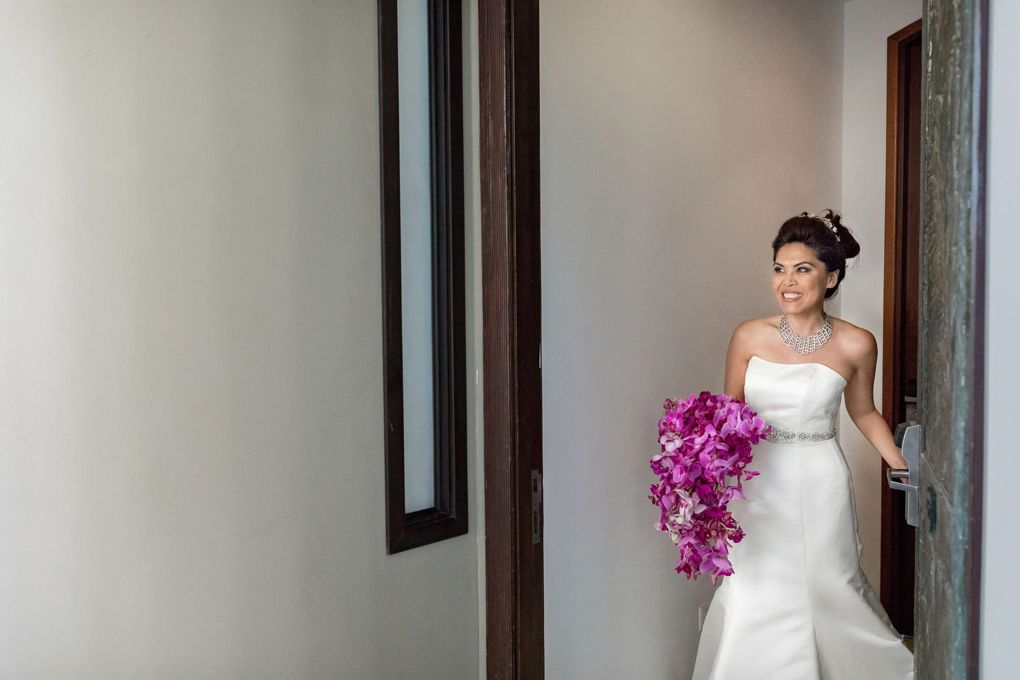 The bride is all ready and headed out for the first look.
