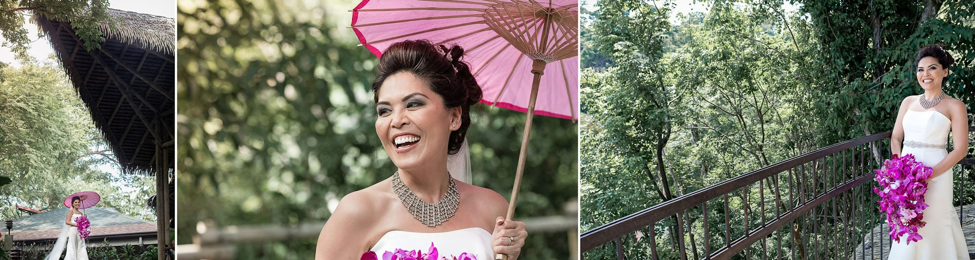 Shots of the lovely bride around the grounds at Arenas del Mar