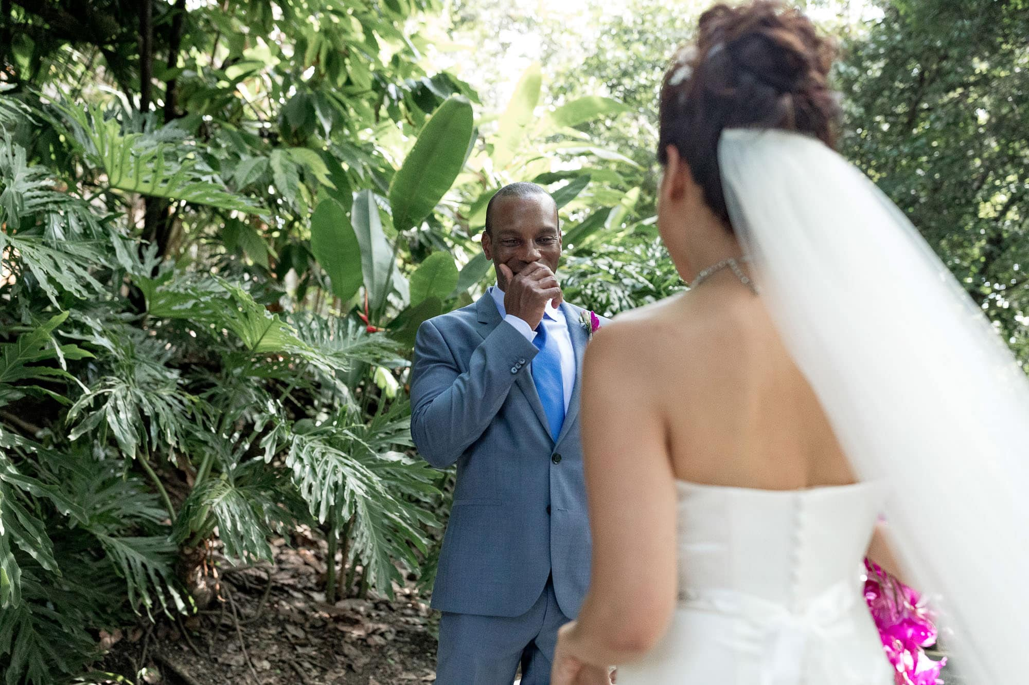 The groom's face when he sees her. Priceless!