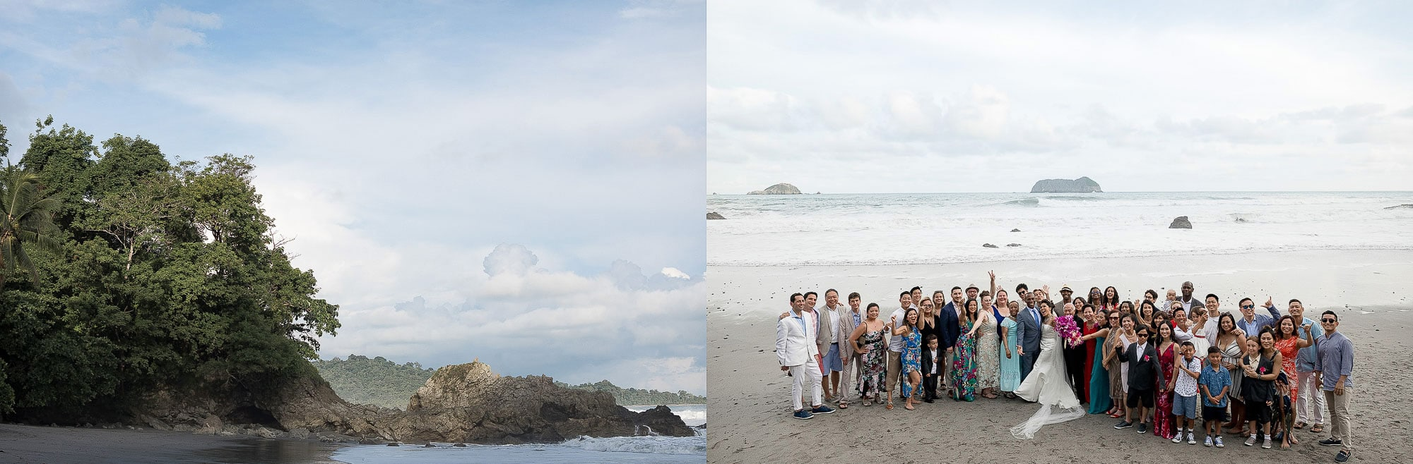 A shot of the whole wedding group in their epic location at Arenas del Mar