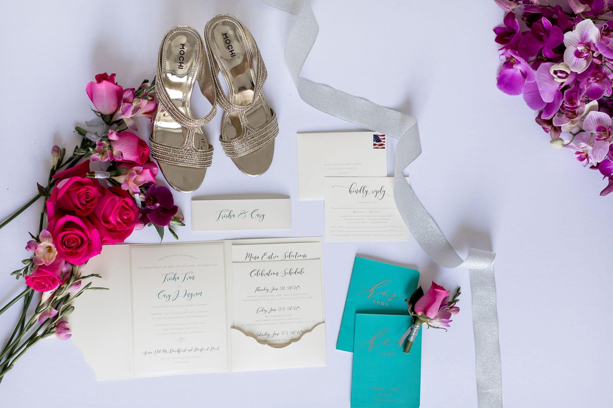 Elegant wedding shoes and invitations