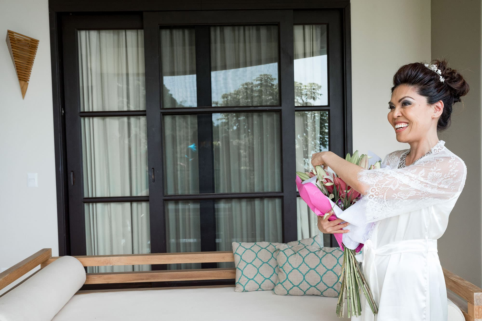 The bride with her gift bouquet