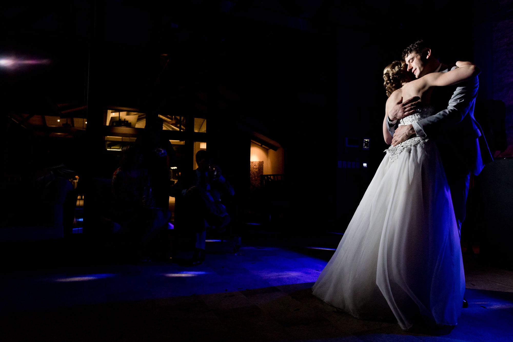 A sweet embrace during the couple's first dance as newlyweds.
