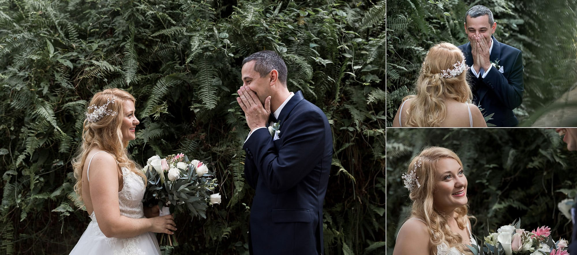 The groom's face when he sees his beautiful bride