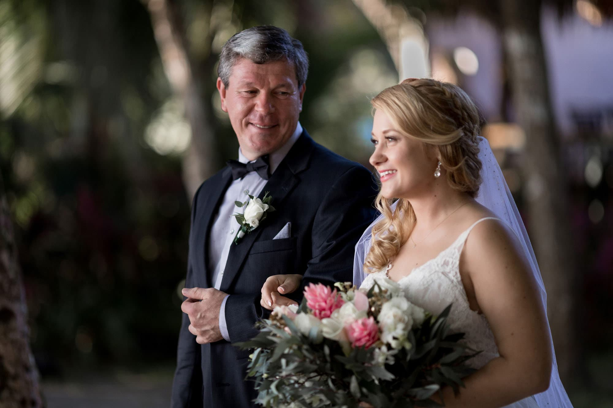 The look of love on the father of the bride's face as he walks her down the aisle.