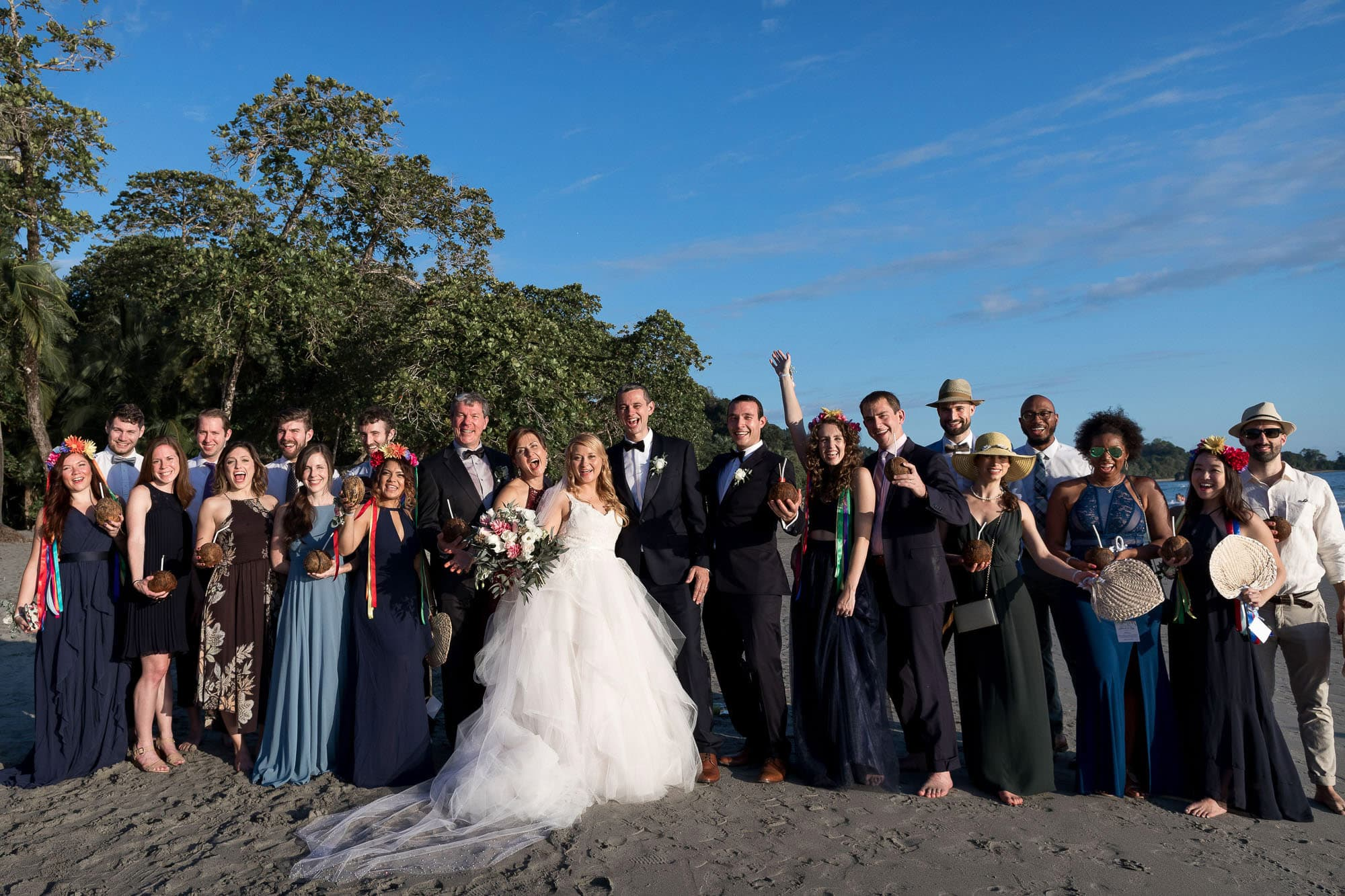 Everybody on the beach for a group shot just after the ceremony.