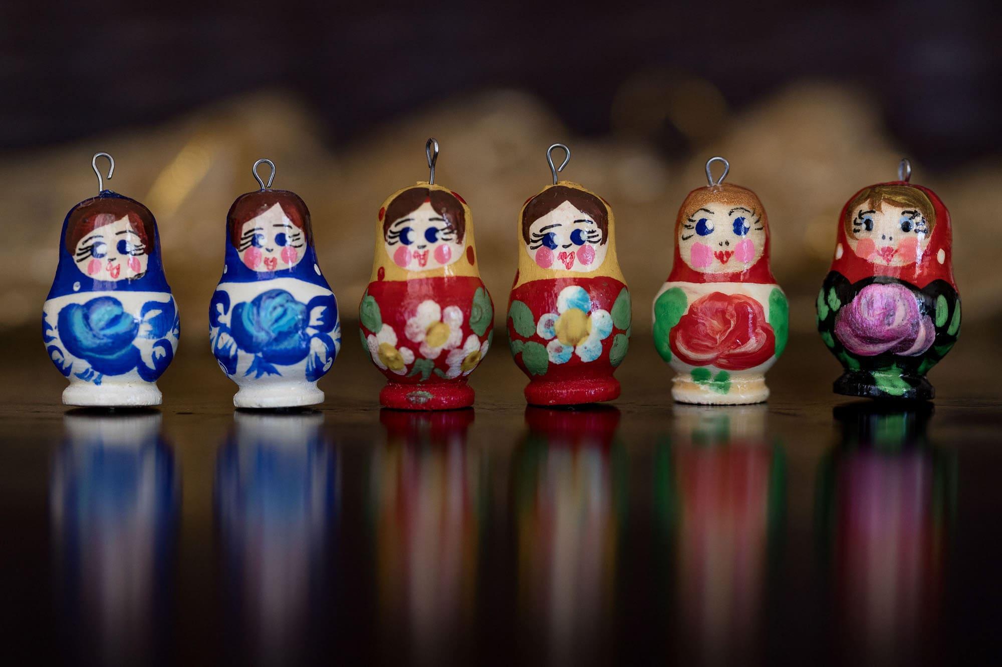 A grouping of wooden Ukrainian dolls