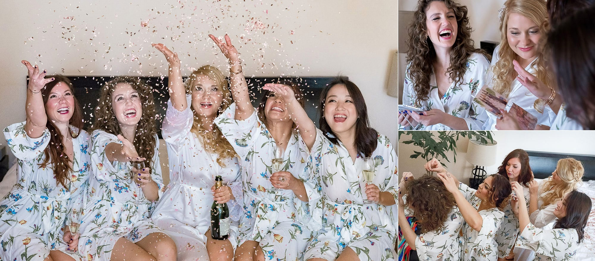 The bride and bridesmaids tossing confetti when they get ready