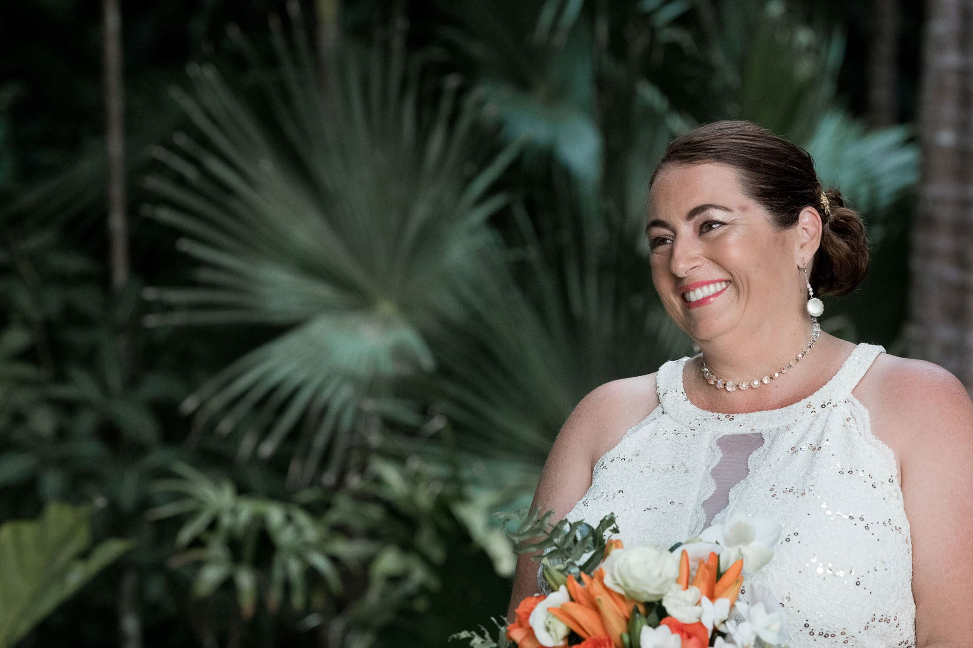 Pure happiness radiates from the bride's face