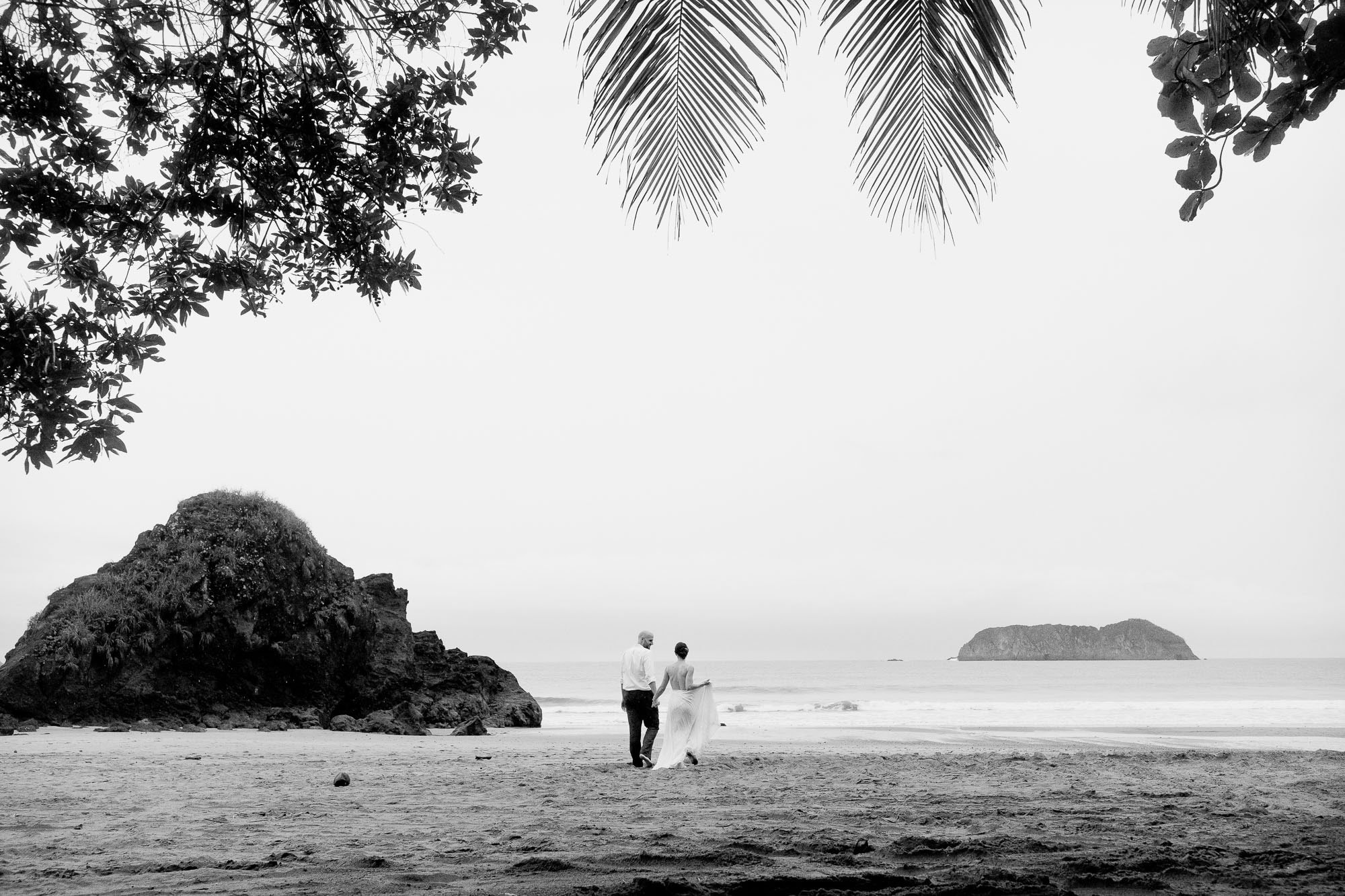 The bride and groom on the beach after their Costa Rica elopement!