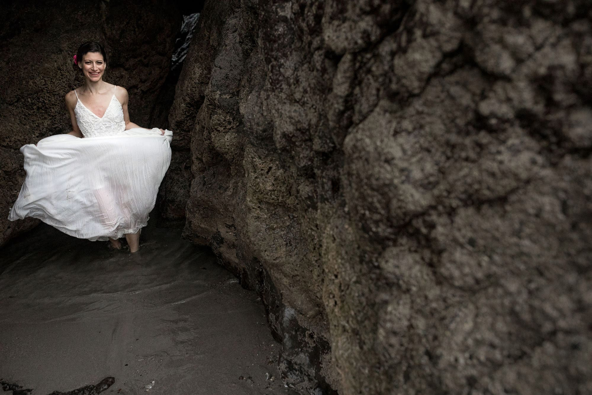 Bridal portraits on the beach after Costa Rica elopement