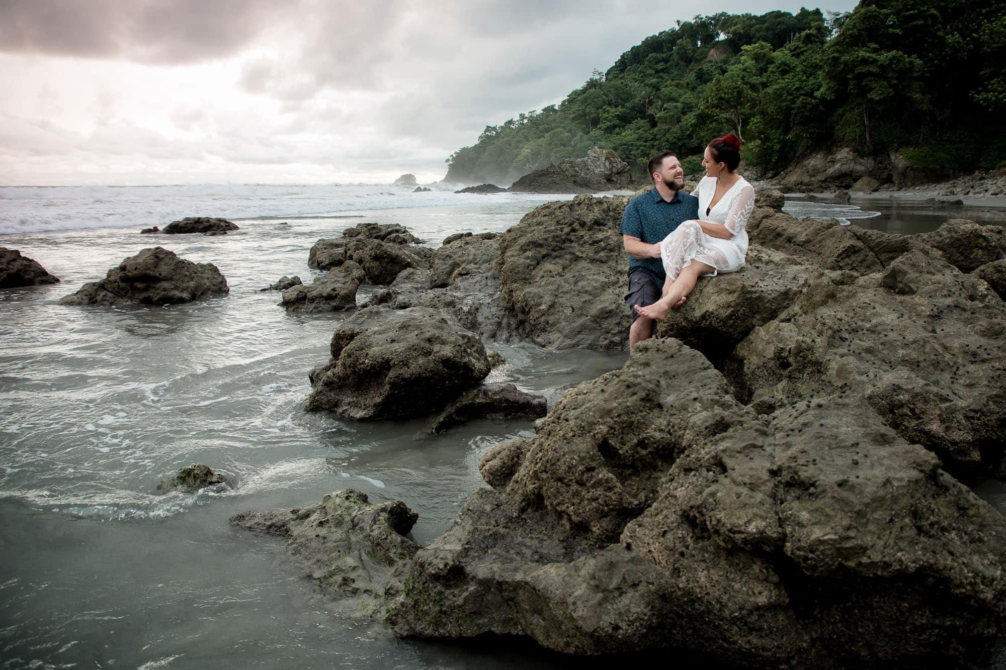 Pre wedding portrait session on the beach where love blooms
