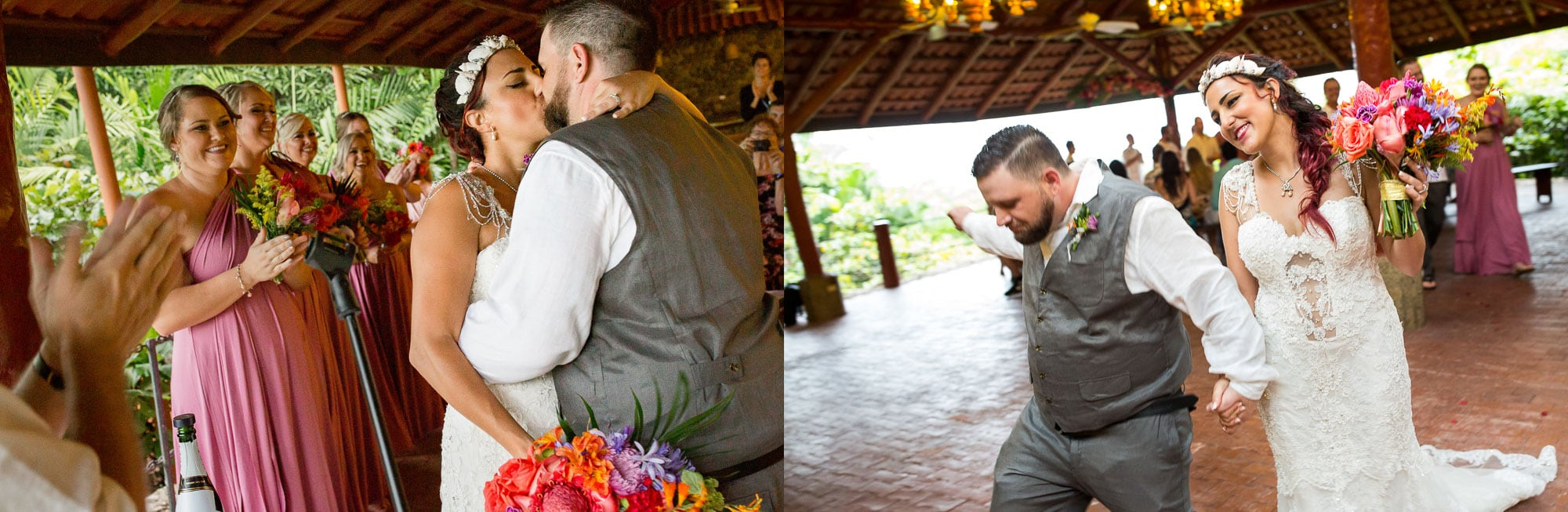 The kiss and the groom doing his happy dance!