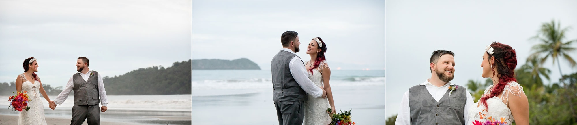 Bridal portraits on the beach in between the raindrops