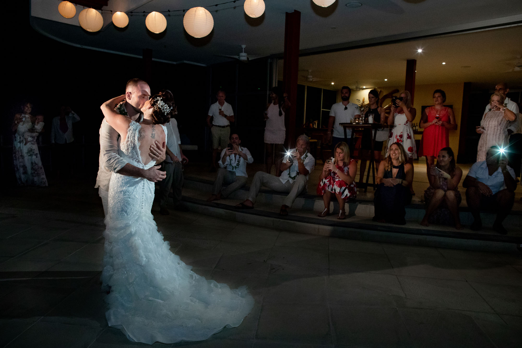 An epic shot of the bride and groom's first dance