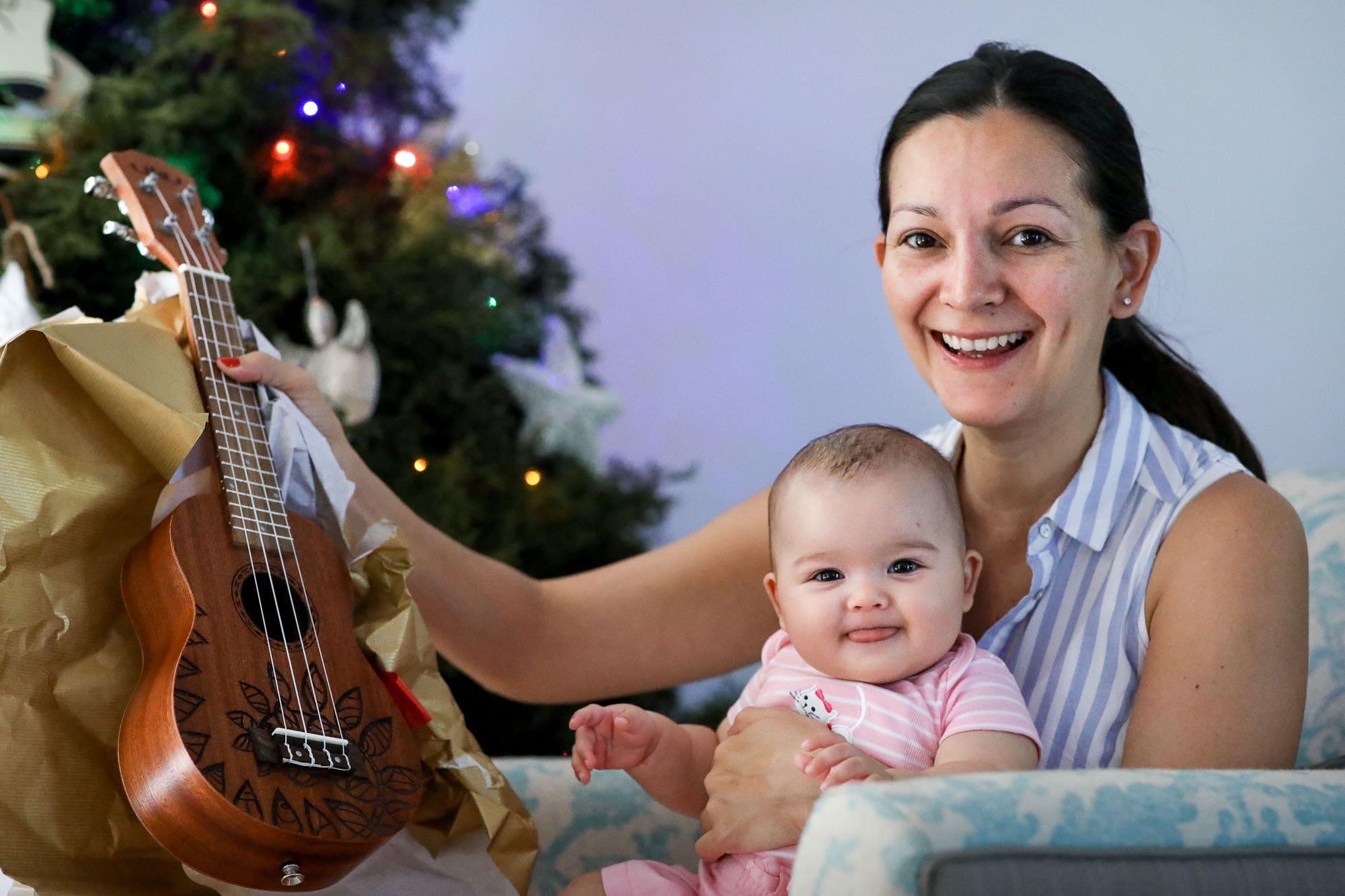 baby with ukulele