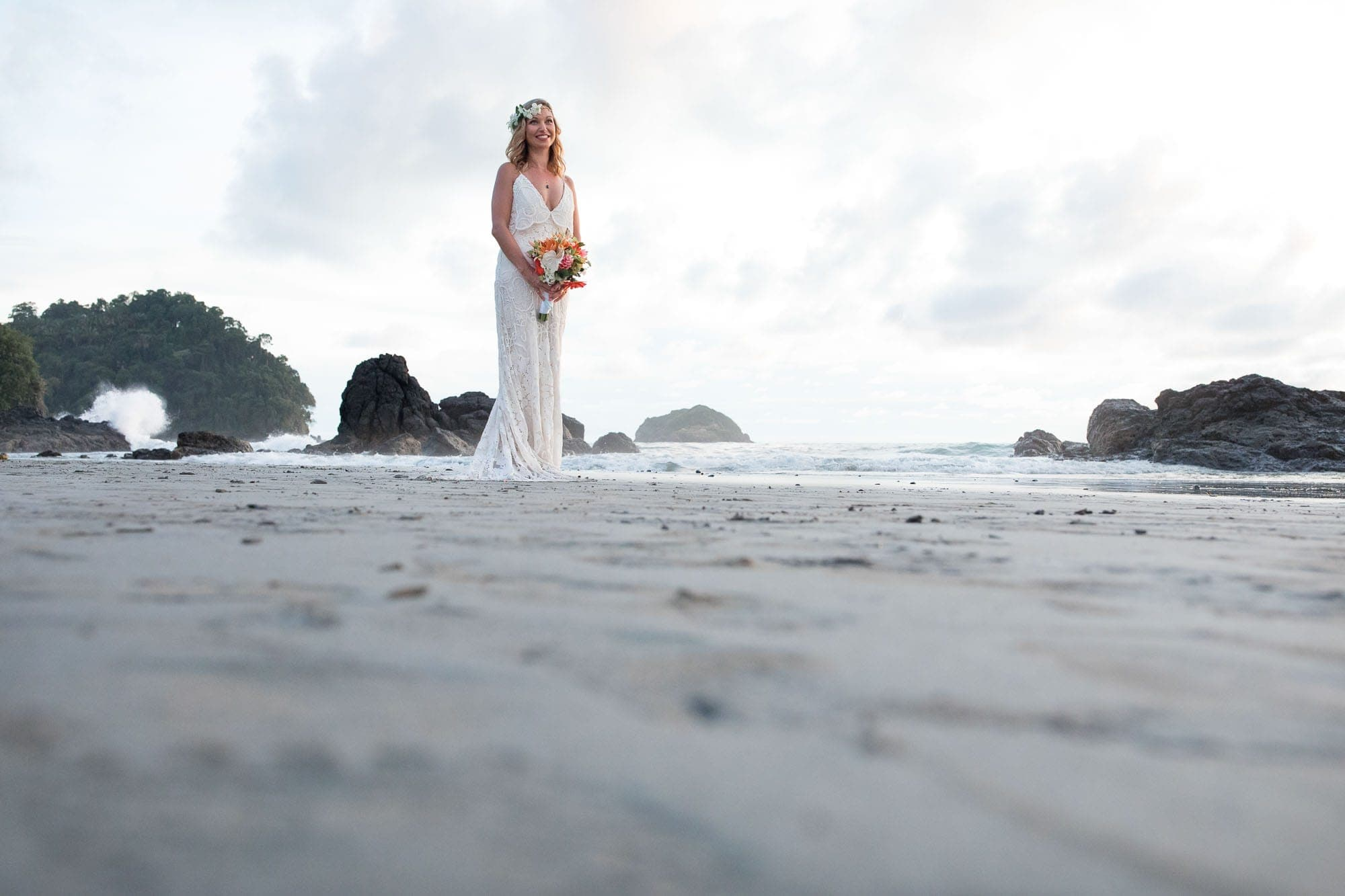 Portrait of the bride on the beach