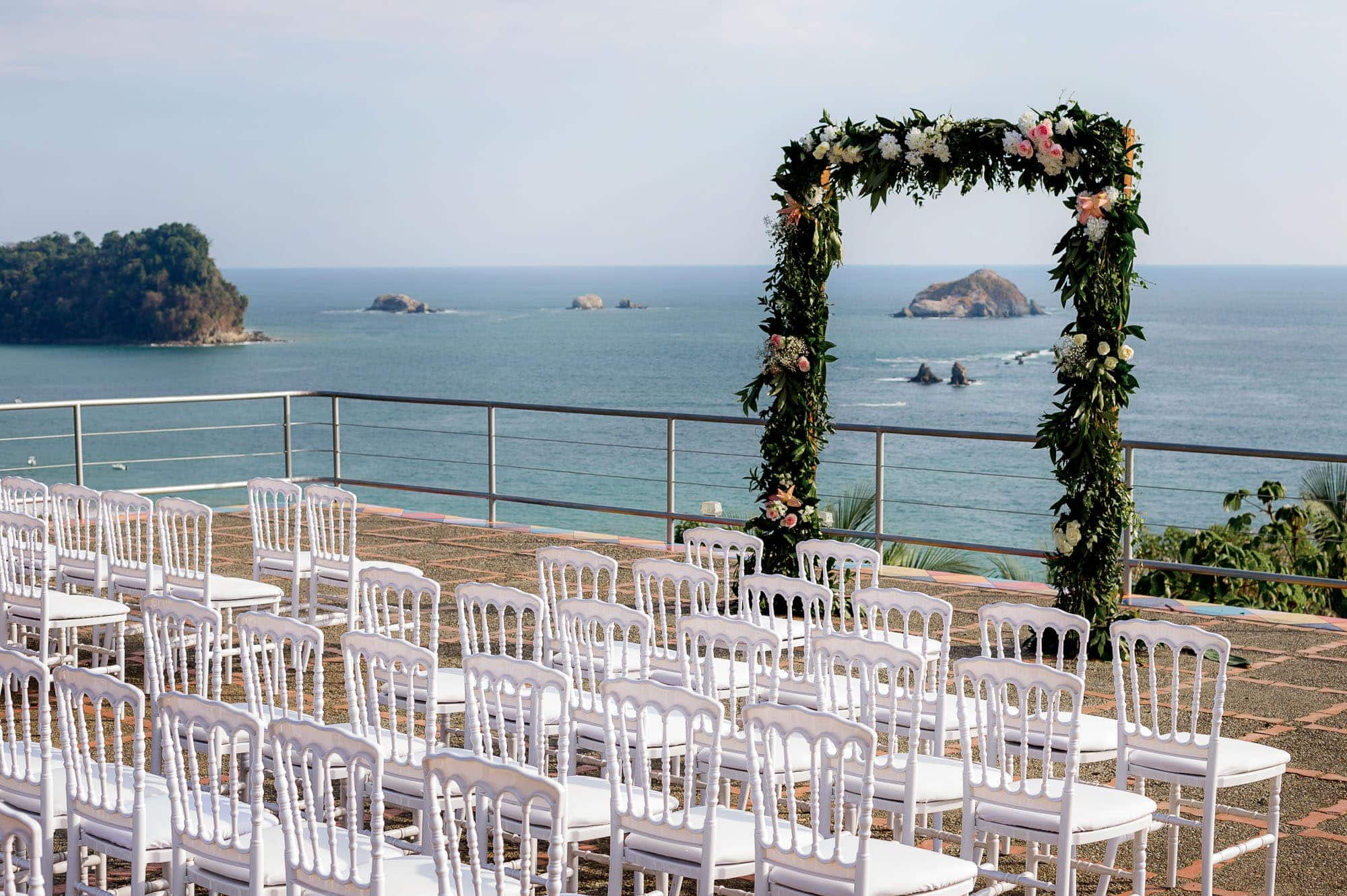 The ceremony site on the helipad at Costa Verde