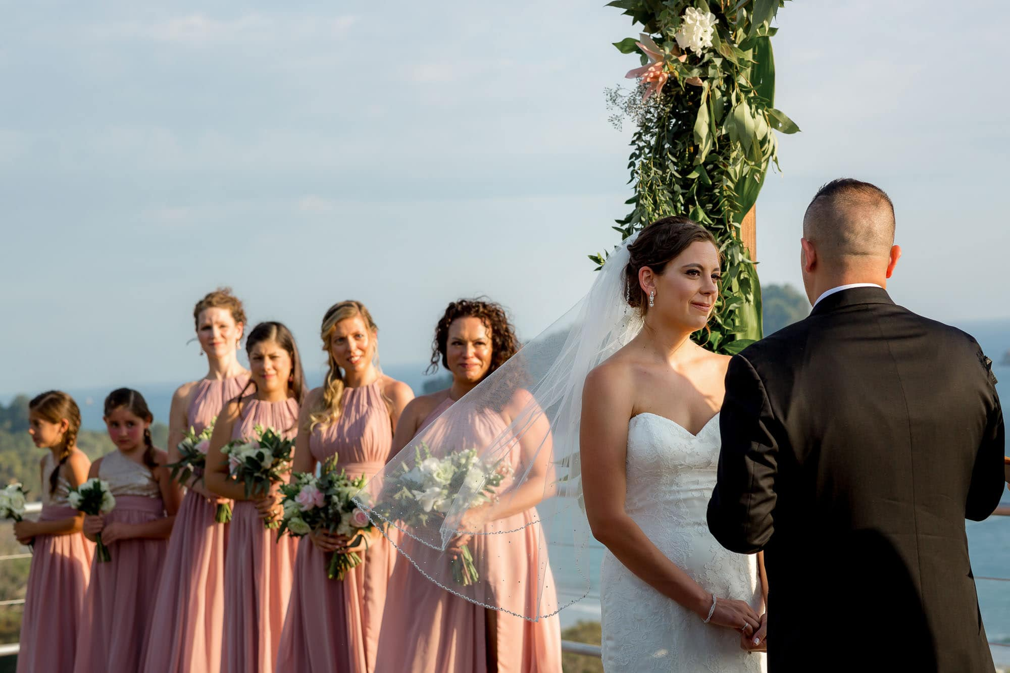 The bride and groom with the bridesmaids and the epic view