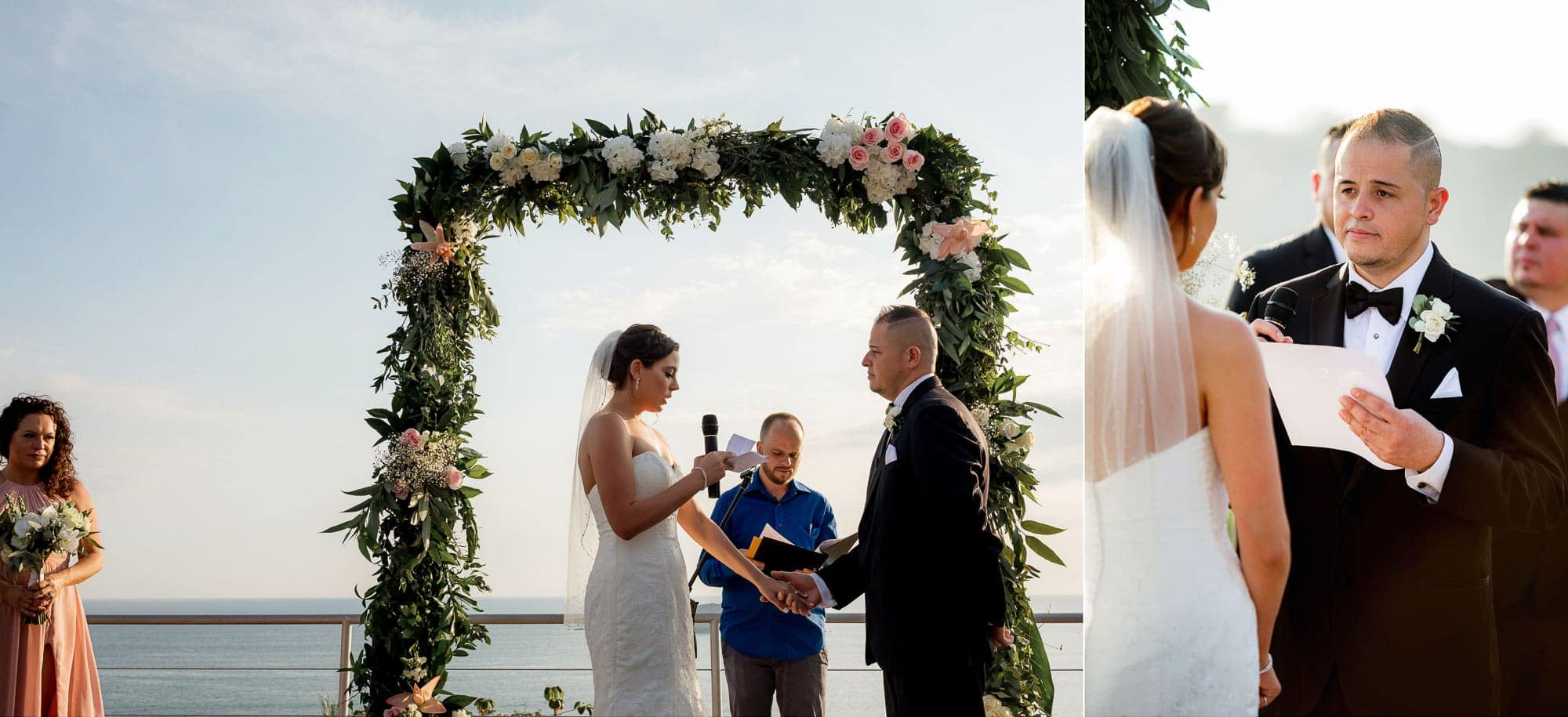 The bride and groom read their vows