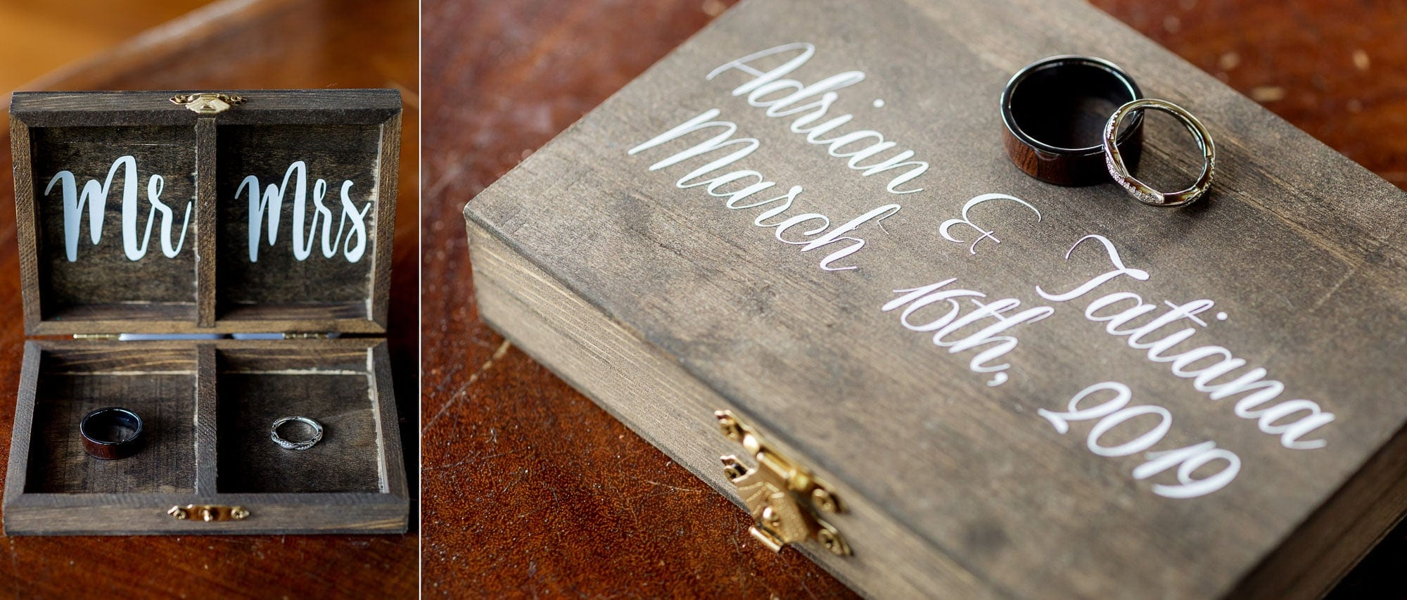Special memento box with the bride and groom's unique wedding rings