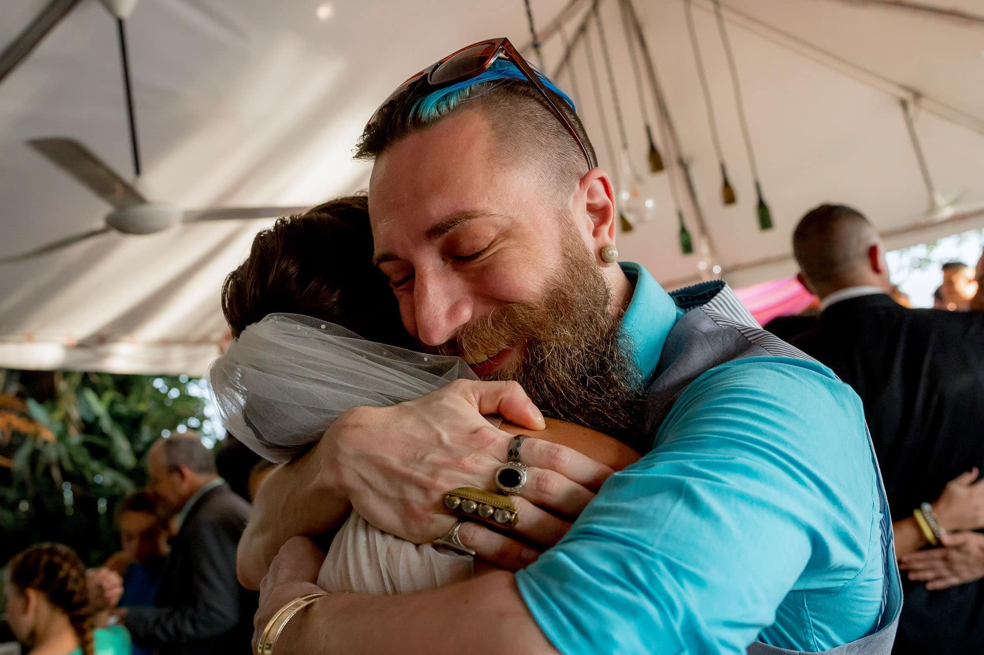 Giving the bride a hug!