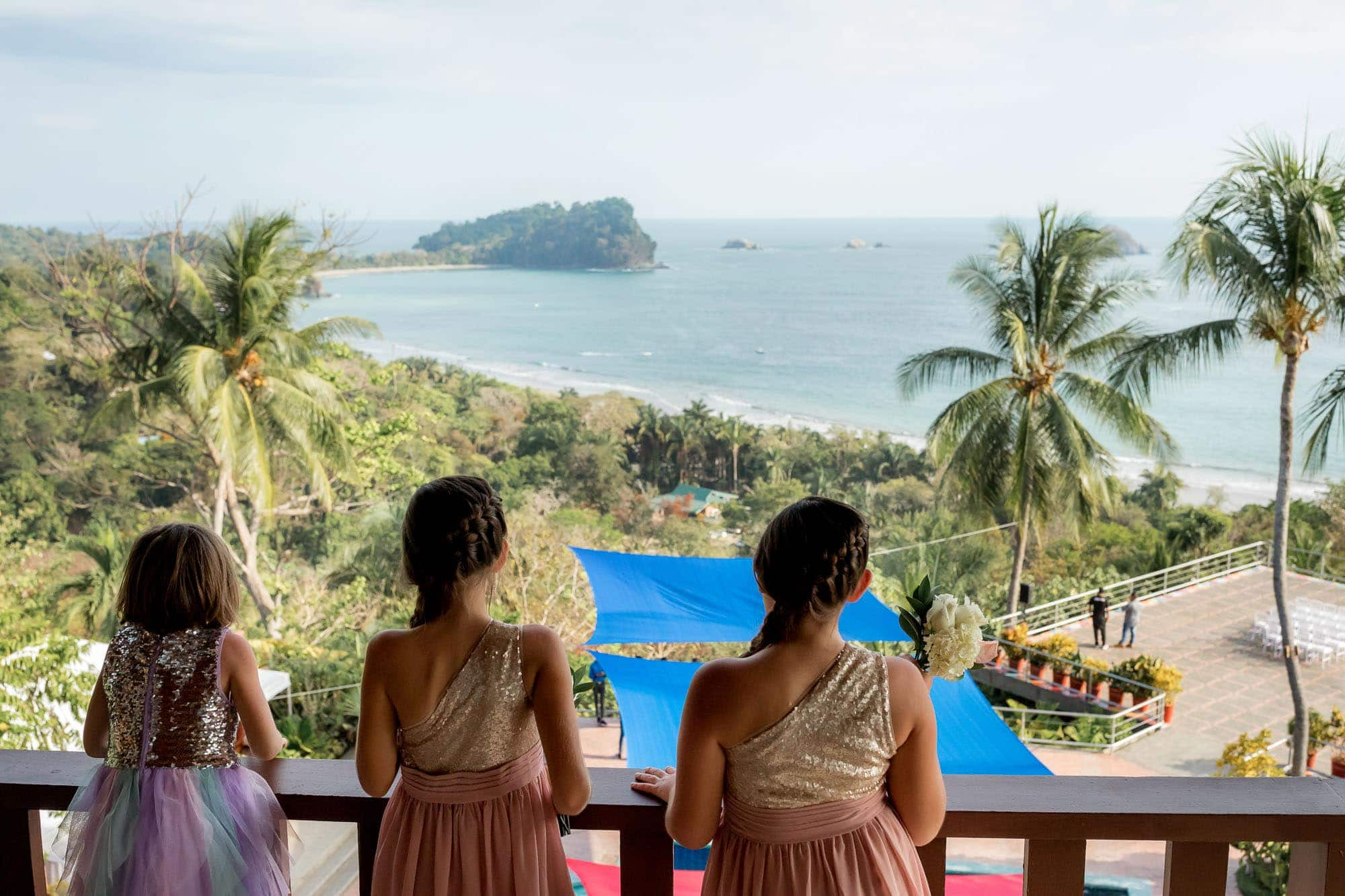 Little girls checking out the view before the ceremony