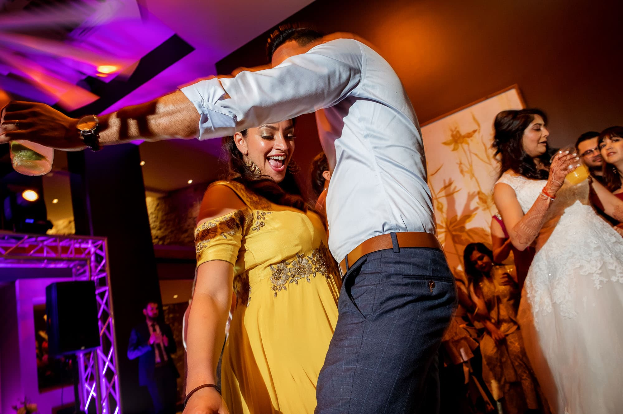 Ripping up the dance floor at this not so traditional Hindu Muslim wedding reception