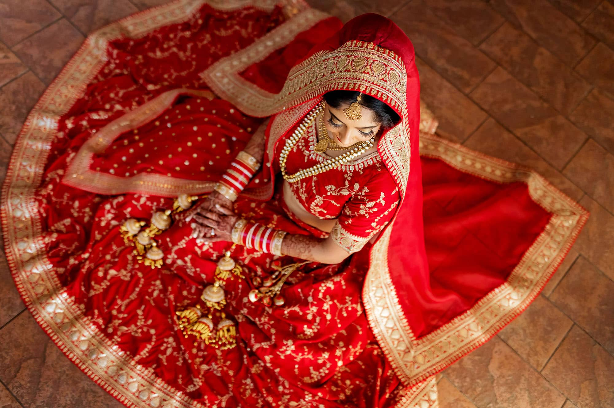 The bride is ready for her traditional Hindu Muslim wedding ceremony.