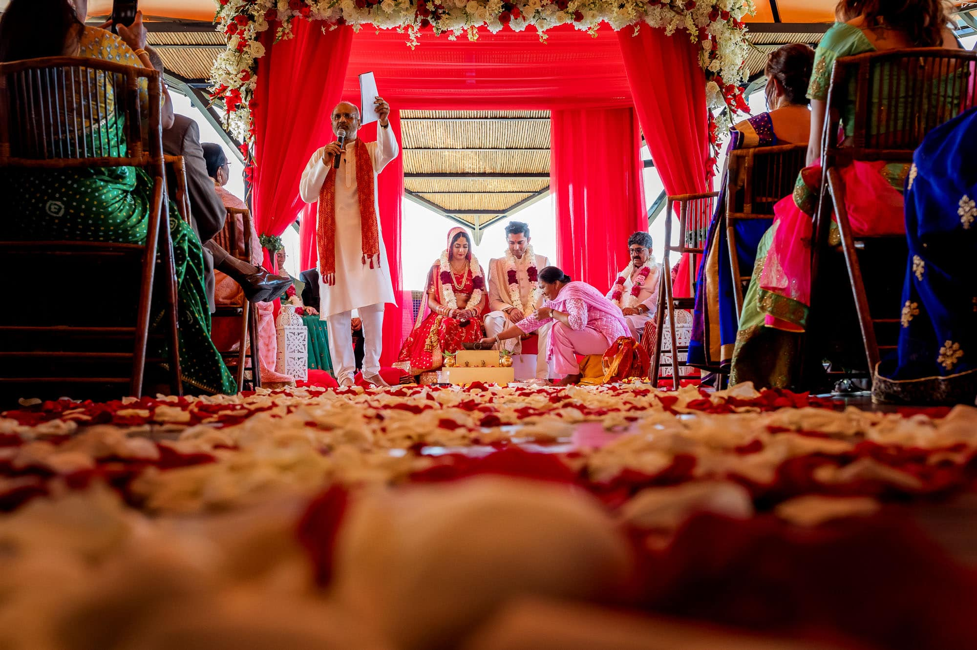 Stoking the fire in the Mandap
