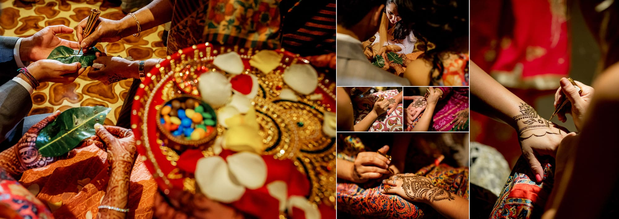 Painting the intricate henna designs