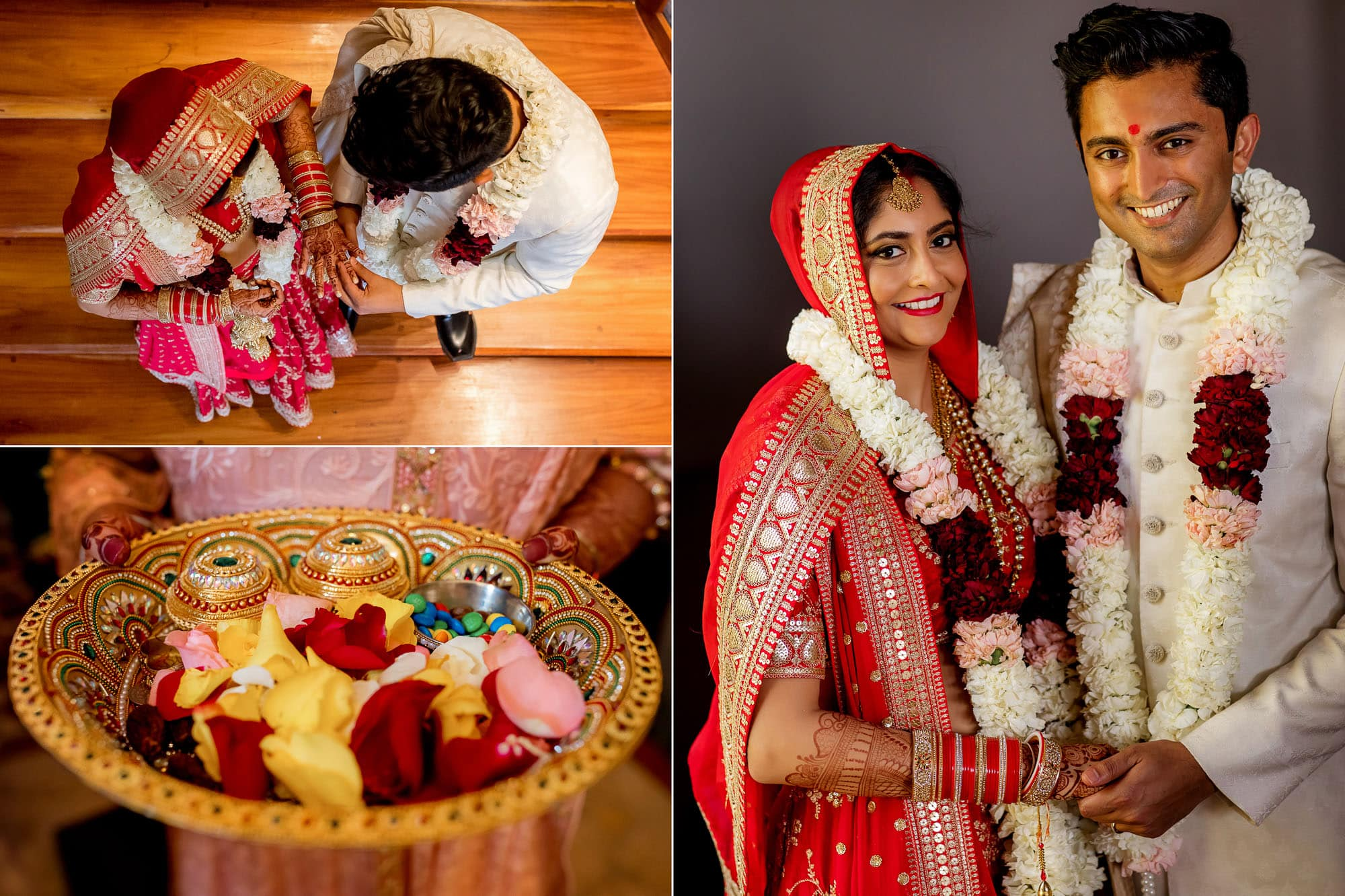 Throwing flower petals on the couple to bless them with prosperity and happiness