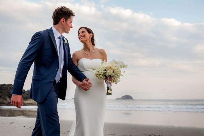 Couple on the beach, getting married in Costa Rica